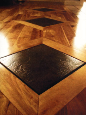 Tile inlay wood floor